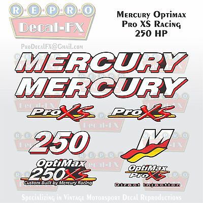 Mercury Marine Racing Optimax Pro XS 250HP Outboard Reproduction Decals 9 Pc