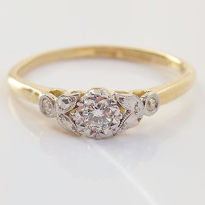 Stunning Vintage 18ct Gold Diamond Solitaire Ring c1949; UK Ring Size 'O'