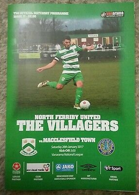 North Ferriby United V Macclesfield Town 16/17 Programme