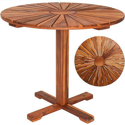 Round Wooden Garden Coffee Dining Table Outdoor Wood Tables Furniture Bistro