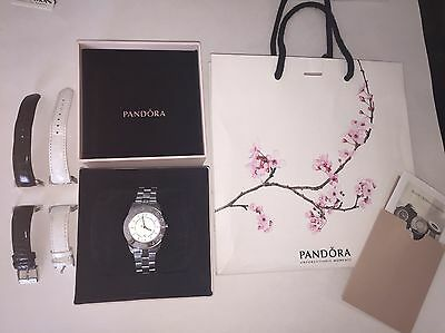 Pandora Imagine Stainless Steel Silver Watch Extra Leather Bands
