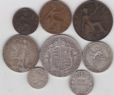 1910 Edward Vii Part Set Of 8 Coins In Used Fine Or Better Condition