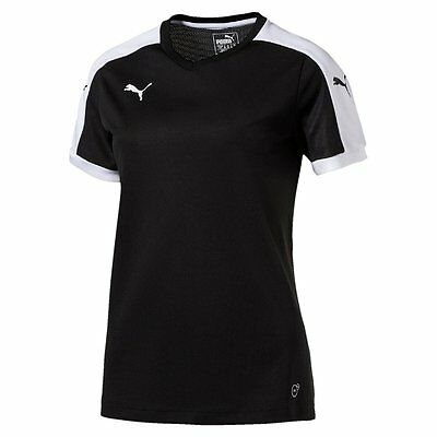 Puma Womens Football Pitch Short Sleeve Shirt Top Jersey Training Black White