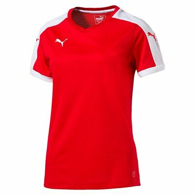 Puma Womens Football Pitch Short Sleeve Shirt Top Jersey Training Red White
