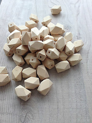 Natural Unfinished Wooden Beads Geometric 14x22mm,Craft,Polygon Hexagon