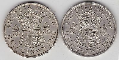 1937 & 1946 George Vi 50% Silver Halfcrowns In Good Very Fine Condition