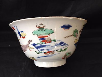 17-18th c Chinese Chenghua mark Kangxi famille verte Bowl 14.5cm dia.