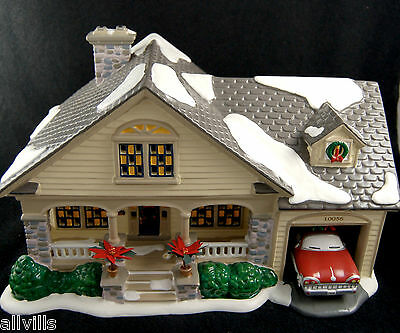 BRANDON BUNGALOW #54918 Dept 56 Snow Village with Stationwagon Mid Century Look
