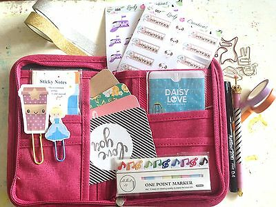 Planner Kit Small - On the Go Travel Pack Wallet Stickers Pens Washi Tape