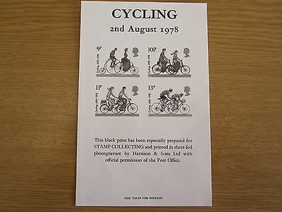 GB 1978 Cycling set - black print issued by Stamp Collecting magazine