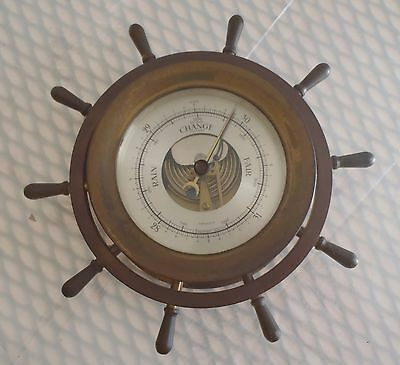 Vintage Working Brass Salem Ship's  Wheel Barometer made in Germany