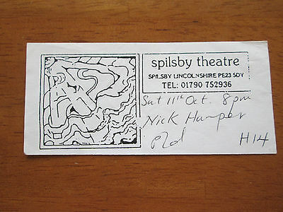 Nick Harper - Spilsby Theatre 11.10.2004 Used Concert Ticket