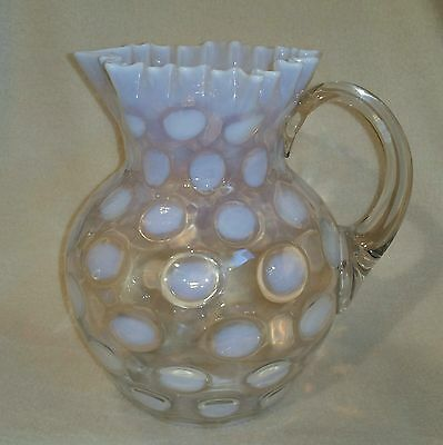 """Circa 1903 Northwood French Opalescent Coin Spot Pitcher Star Crimped Rim 8-1/4"""""""