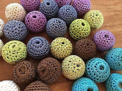 22mm Large Round Crochet Balls Beads - Jewellery Making - 8 pieces per colour