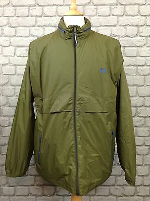 Fred Perry Mens Uk Xl Olive Green Shower Hooded Jacket Rrp £99