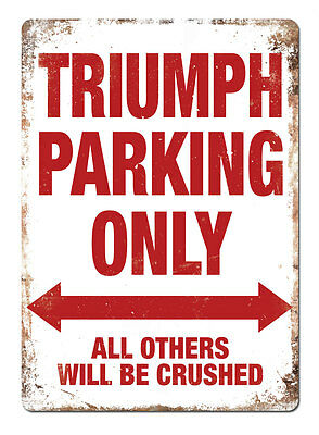 WTF | TRIUMPH PARKING ONLY | Metal Wall Sign Plaque Tiger Stag Spitfire Classic