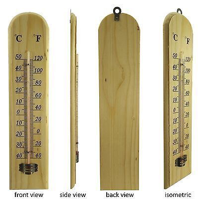 1x Thermometer Glass Monitoring Wood Bar Equipment Wall Hanging Type