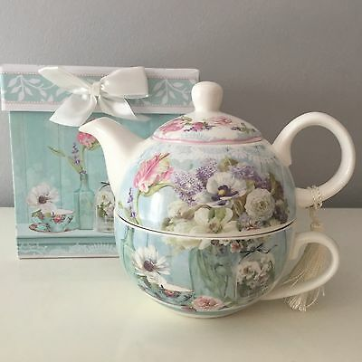 Vintage Style Ditsy Floral Tea For One Teapot Duck Egg Blue Gift Box Fine China