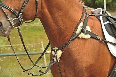HKM German Leather 5-point Eventing Combination Breastplate with REAL Sheepskin