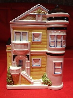 """Otagiri Yellow Victorian House  6"""" Small Canister,nice !!"""