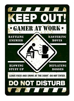 WTF | KEEP OUT. GAMER AT WORK - Green | Metal Wall Sign Plaque Bedroom Teen