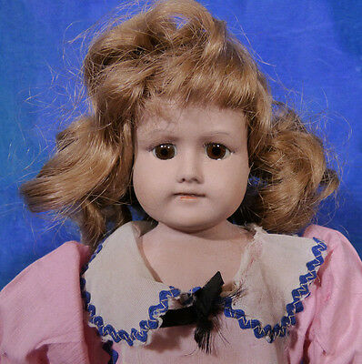 Vintage Antique 1910s English Closed Mouth Bisque Doll DA64