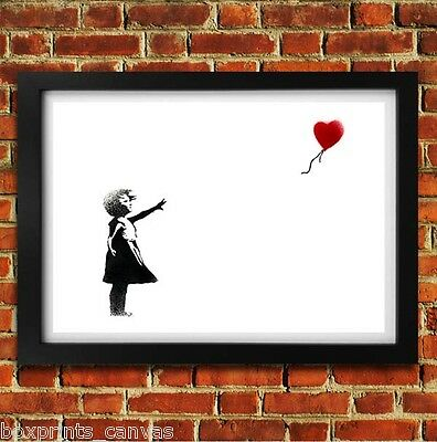 Banksy Balloon Girl Poster Framed Wall Art Print Picture Small Medium Large