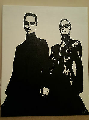 Neo and Trinity Acrylic on Canvas. NOT a print, But artist Brush.The Matrix Film