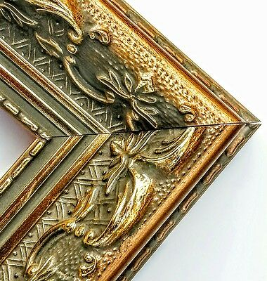 20 ft - Gold Wood Ornate Picture Frame Moulding, Victorian Style, Antiqued