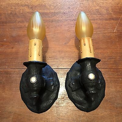 Matched Wired Pair Heavy Antique C.B. Rogers Pat Applied For Sconce Fixtures 9E