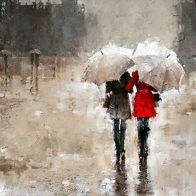 Hand-painted Girls Walking in the Rain Abstract Oil Painting Wall Art on Canvas