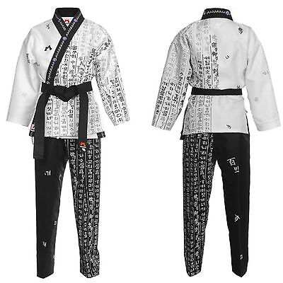 Taekwondo Hangul Wrap Uniforms Open Dobok TKD Suits Dobok Hapkido Korean Letters