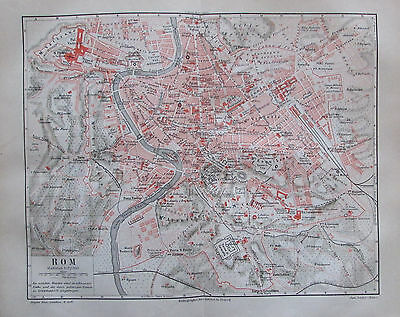 1889 ROM Italien original antike Stadtplan Lithographie old city map