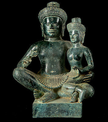 19th Century South Asia Bronze Figure of Hindu God Shiva & Parvati - 30cm/12""