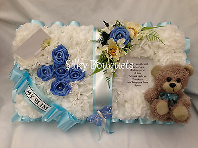 Artificial Silk Funeral Flower Open Book Bible Wreath Child Floral Tribute Teddy