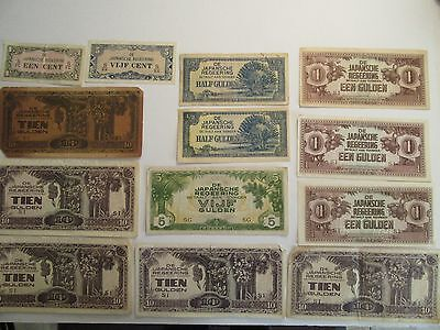 Lot of 13 Japan Banknotes, mixed dates & denominations, Japanese Occupation
