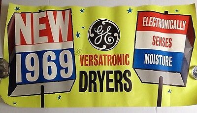 Vintage General Electric Poster Ad 1969 Store Display Versatronic Dryer