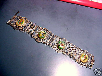 VINTAGE CHINA EXPORT SILVER filigree ABALONE Flowers & Hunting Scenes BRACELET