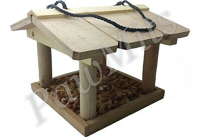 HANGING BIRD TABLE - Wooden Hang Feeder Wild Garden Wood Feed Tray HBT PawMits