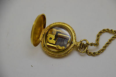 Swiss Made Vintage REUGE Musical Gold Plated Charm Pocket Watch Style Pendant