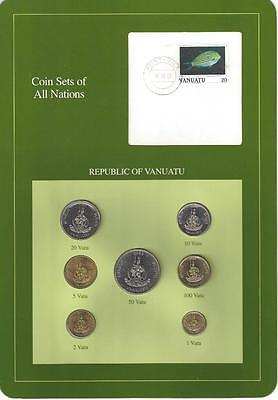 Coin Sets of All Nations - SCARCE, Vanuatu, Green Card, 7 Coins,