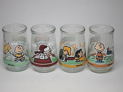 LOT 4 WELCH'S PEANUTS Snoopy & Gang Jelly Jar Glasses #3 #5 #6 #7 Flying Ace VTG