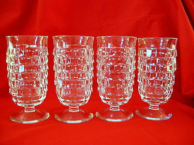 """4 Fostoria American Colony Whitehall Parfait Glasses Footed Cube 5"""""""