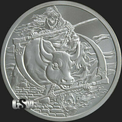 1oz Silver Shield BU Rate Reaper Silver Round #18 Death of the Dollar Series