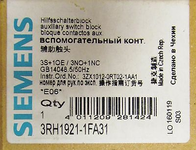 SIEMENS 3RH1921 1FA31 Top Mount Auxiliary Contact 3S+1OE/3NO+1NC