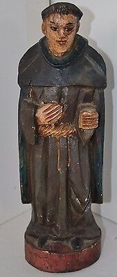 Vtg Antique Monk Church Polychrome Religious Church Statue Wood Carved Santos ?