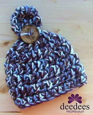 ~ NEW Crochet Baby BUTTON BEANIE - Blue/Brown -Photography Prop - 0-3M -- *QLD ~