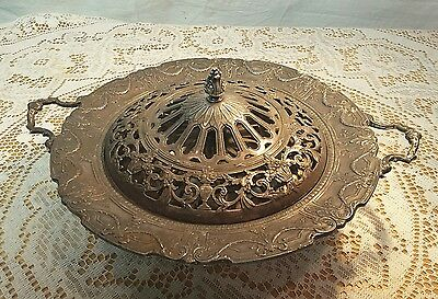 """Antique Decorative Metal 10"""" Ornate Covered Heavy Serving Bowl"""