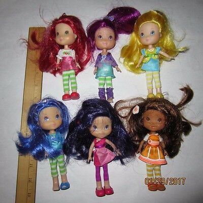 """Lot of 6 Strawberry Shortcake Berry Best Friend 6"""" Dolls Figures Scented"""