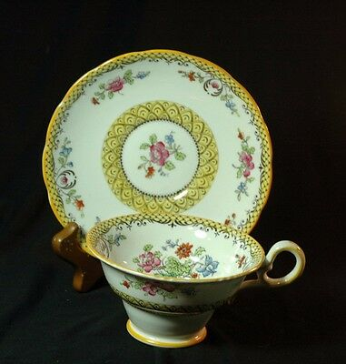 Copeland Grosvenor Yellow banded Floral Cup  and Saucer